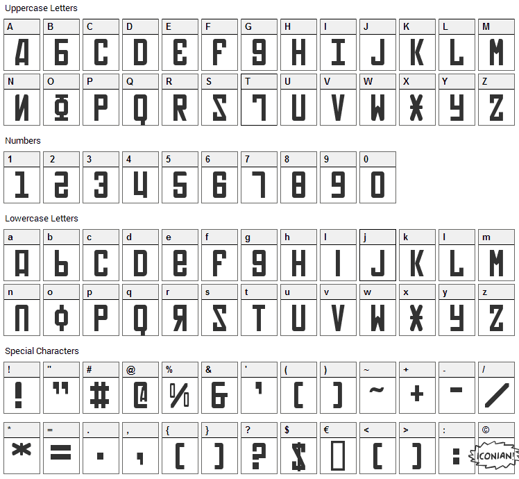 Soviet Font Character Map
