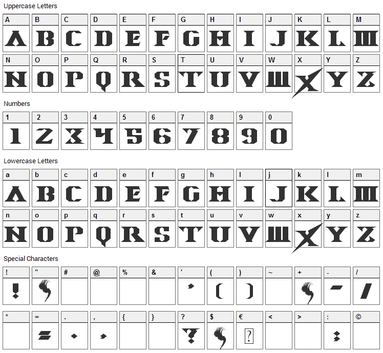 Space Angel Font Character Map