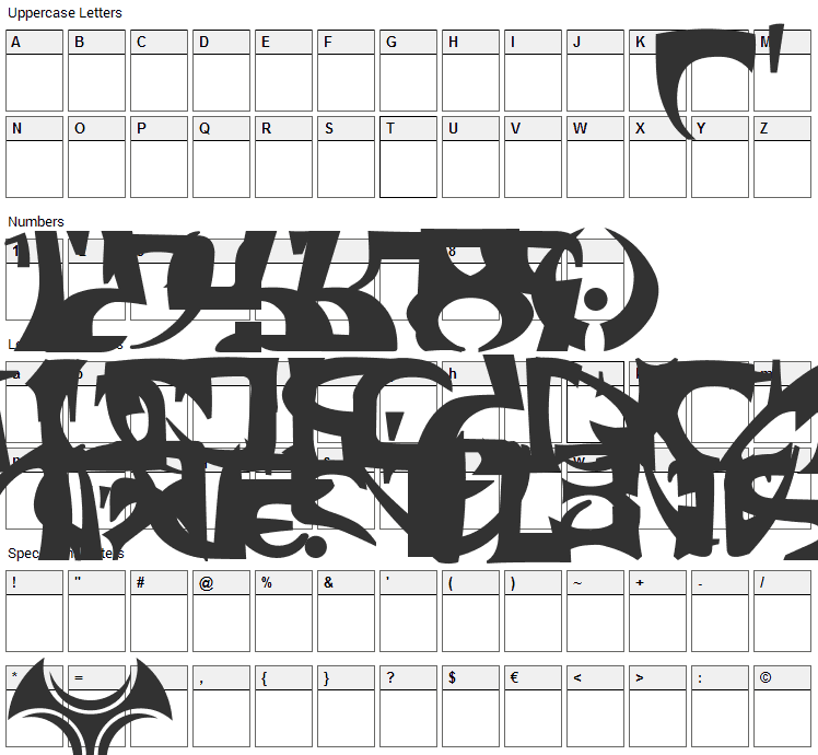 Space Encounter Font Character Map