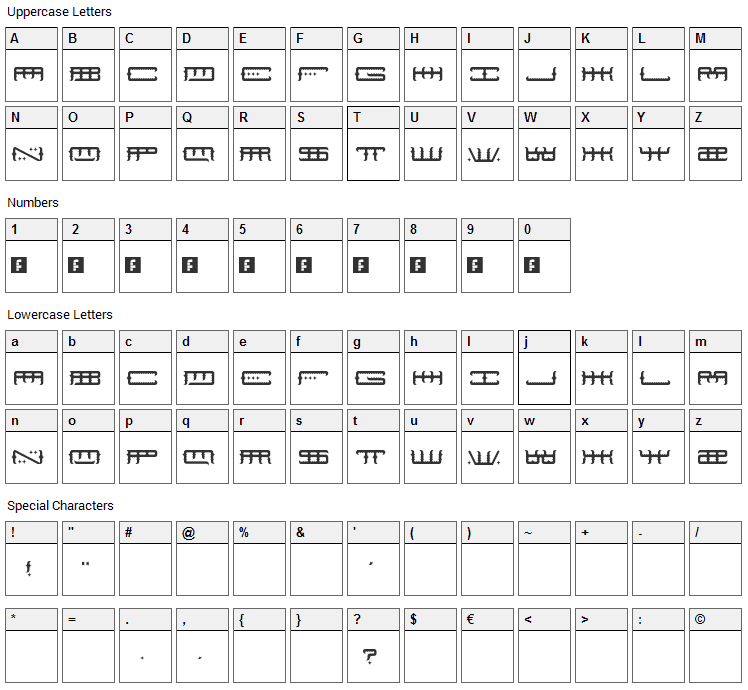 Space Odin Font Character Map