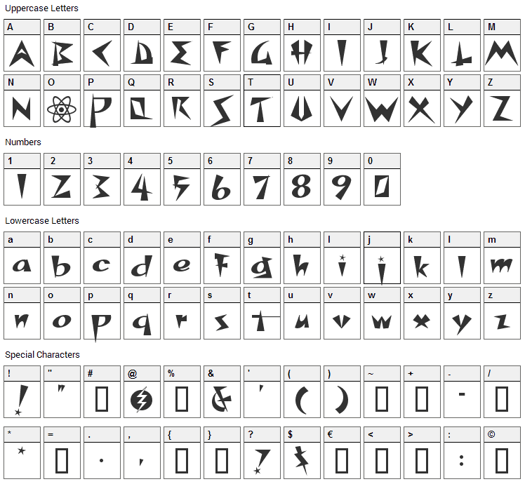 Space Patrol Font Character Map