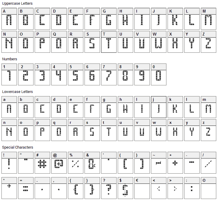 Space Pez Font Character Map