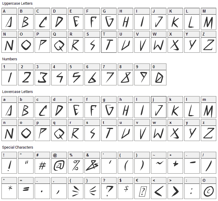 Space Punk Font Character Map