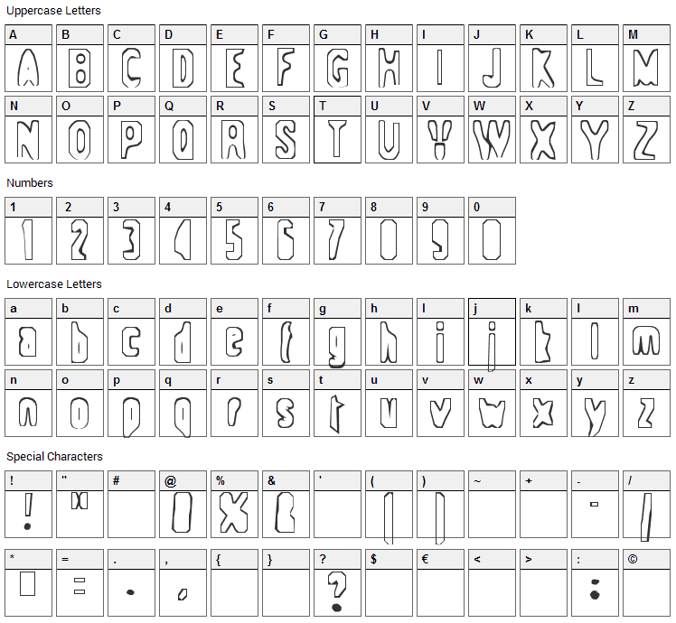 Space-ship 354 Font Character Map