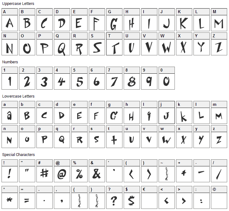 Space Up Yer Life Font Character Map