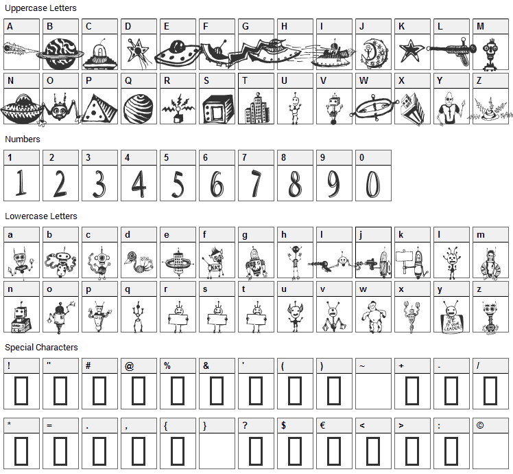 Space Woozies Extras Font Character Map