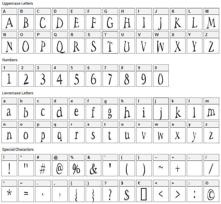 Space Woozies Font Character Map