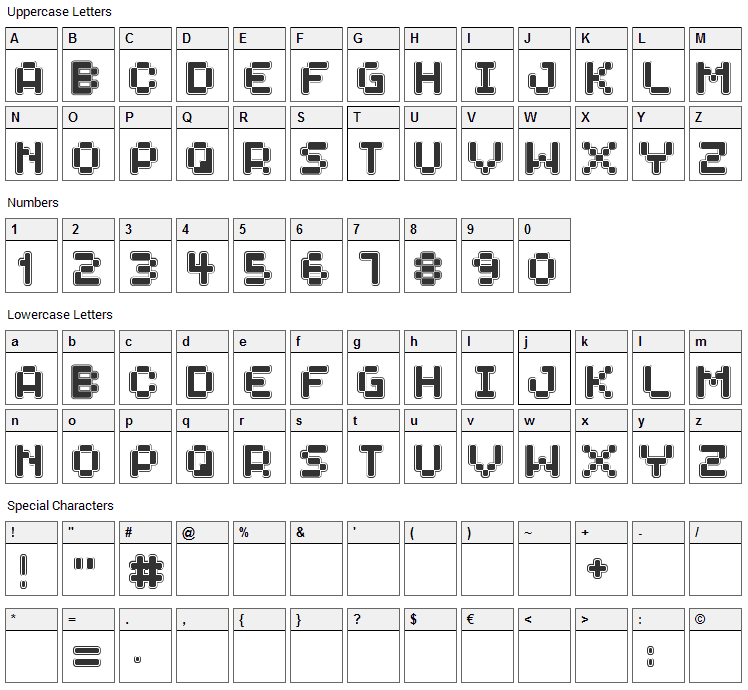 Spaceboy Font Character Map