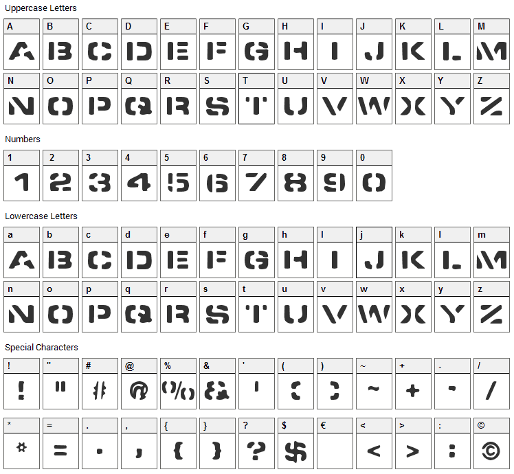 Spacedock Stencil Font Character Map