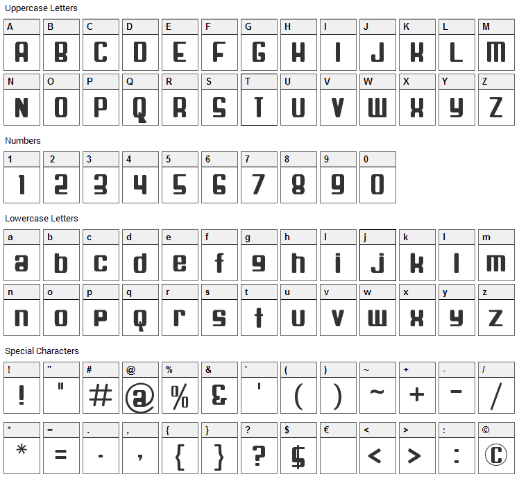 Spaceship Bullet Font Character Map