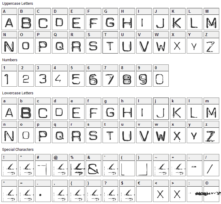 Spacesuit Font Character Map