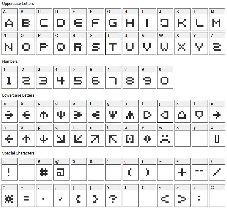 Spaider Font Character Map