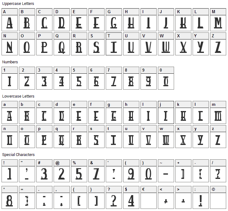Spankys Bungalow Font Character Map
