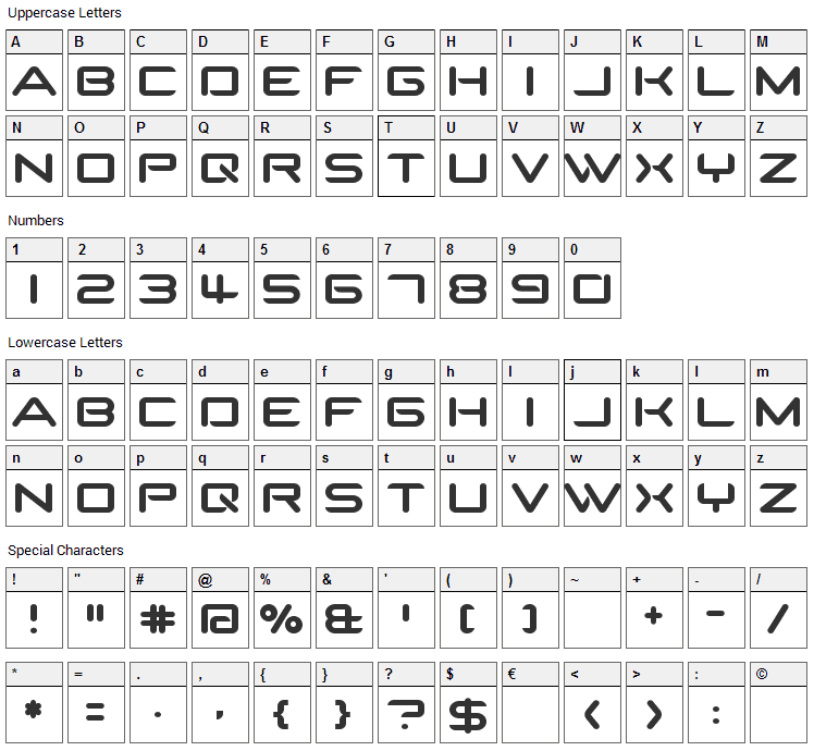 SparTakus Font Character Map
