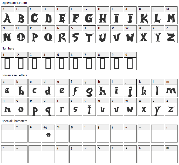 Spawn Font Character Map