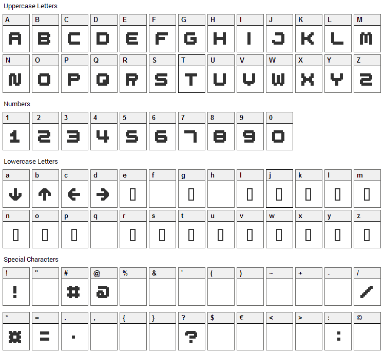 Spdr02 Font Character Map
