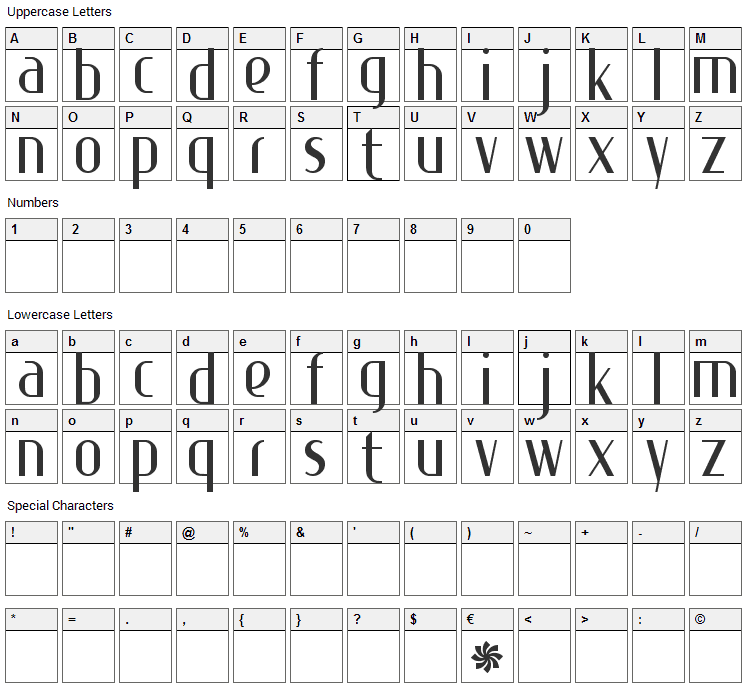 Special K Font Character Map