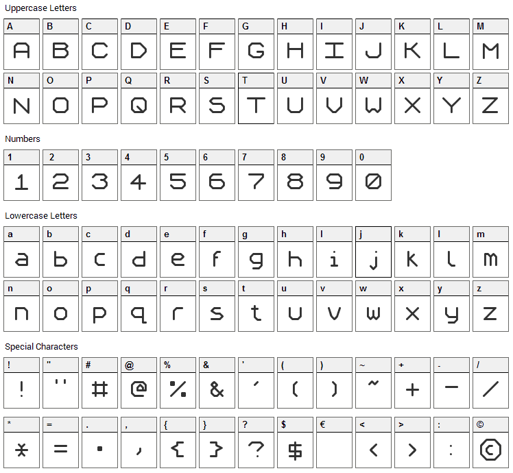 Speculum Font Character Map