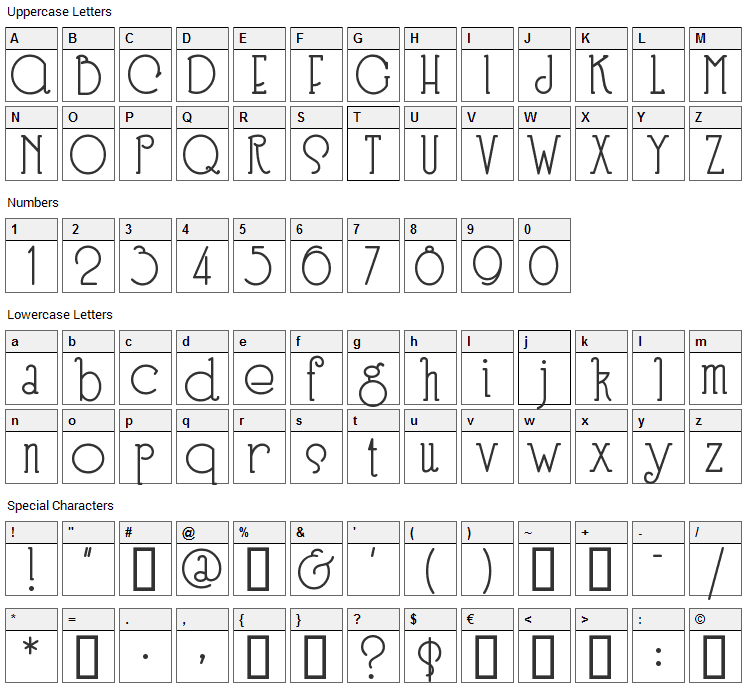 Speedball Font Character Map