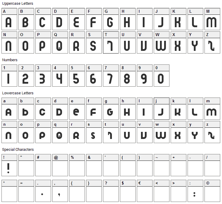 Speedlearn Font Character Map