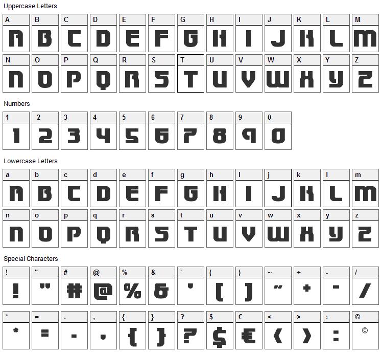 Speedwagon Font Character Map