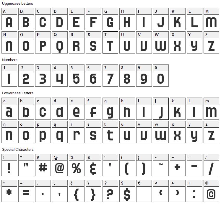 Speedwaystar Font Character Map