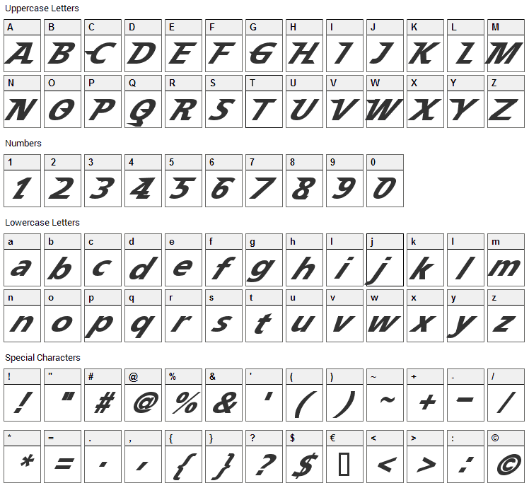 Speedy 12 Font Character Map