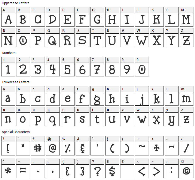 Spellstone Font Character Map
