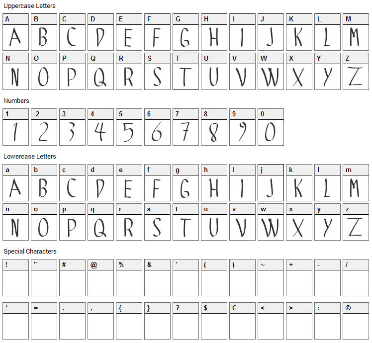 Spider Gotic Font Character Map