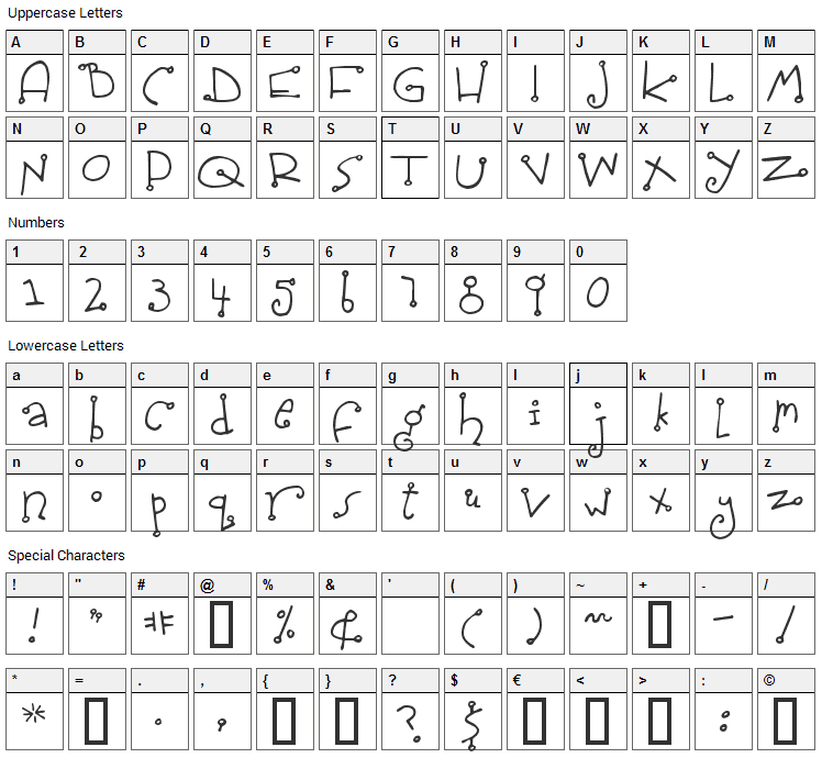 Spidershank Font Character Map