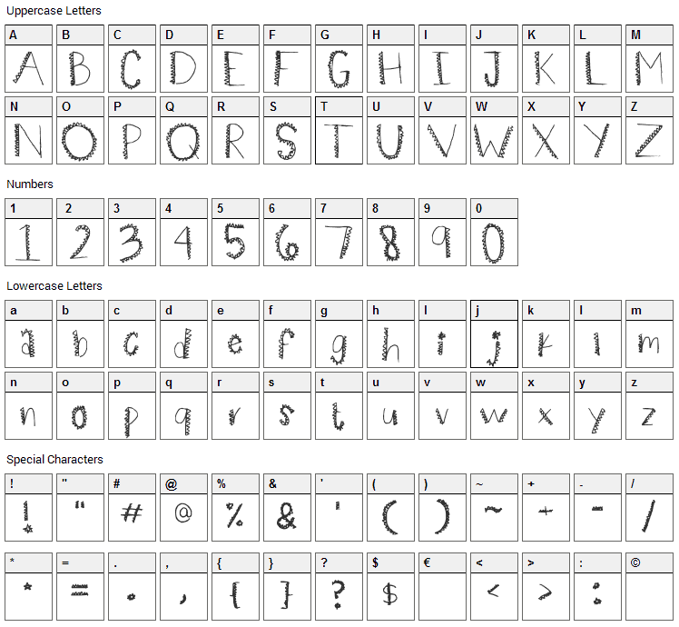 Spiiikey Font Character Map