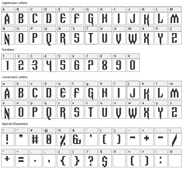 Spinebiting Font Character Map