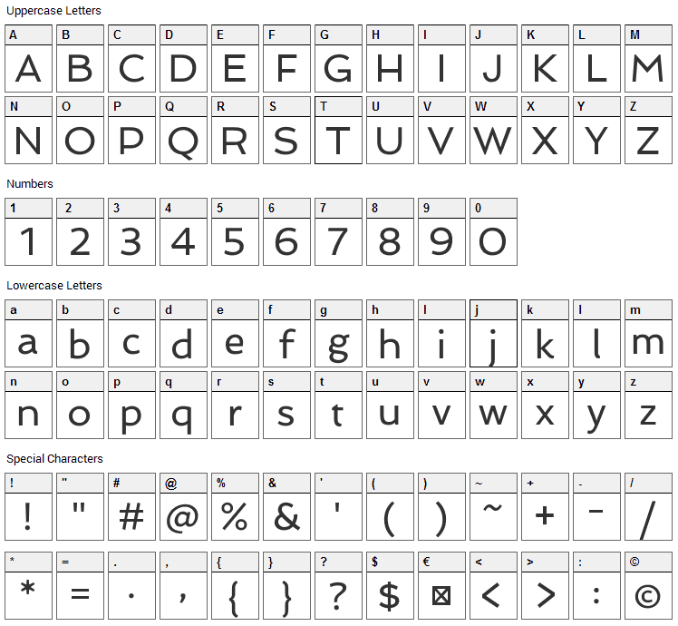 Spinnaker Font Character Map