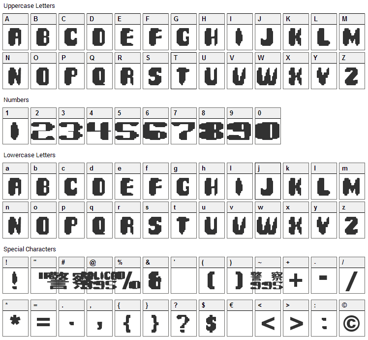 Spinner Font Character Map