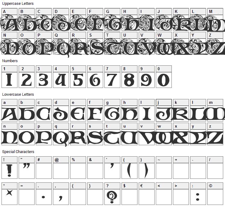 Spiral Initials Font Character Map