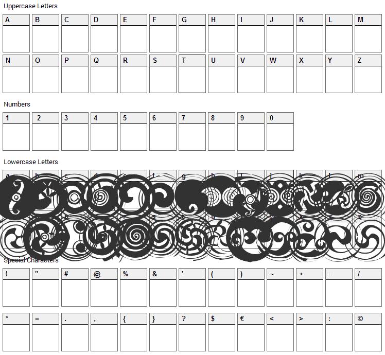 Spirals Font Character Map