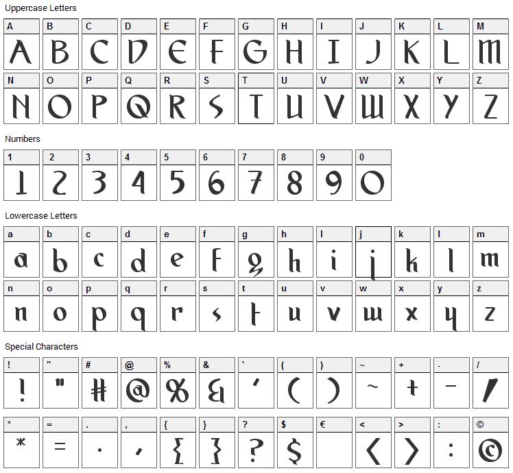 Spirit Medium Font Character Map