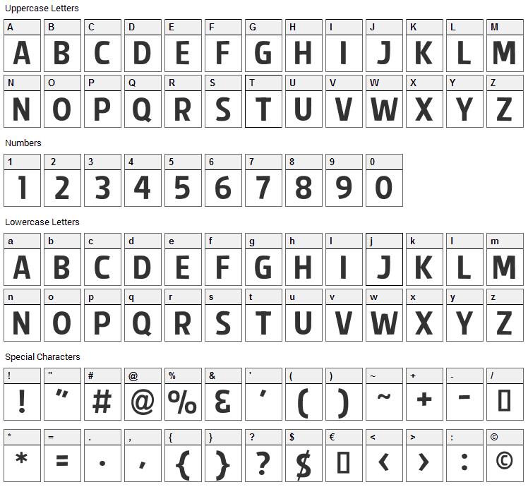Splendid Plan 9 Font Character Map