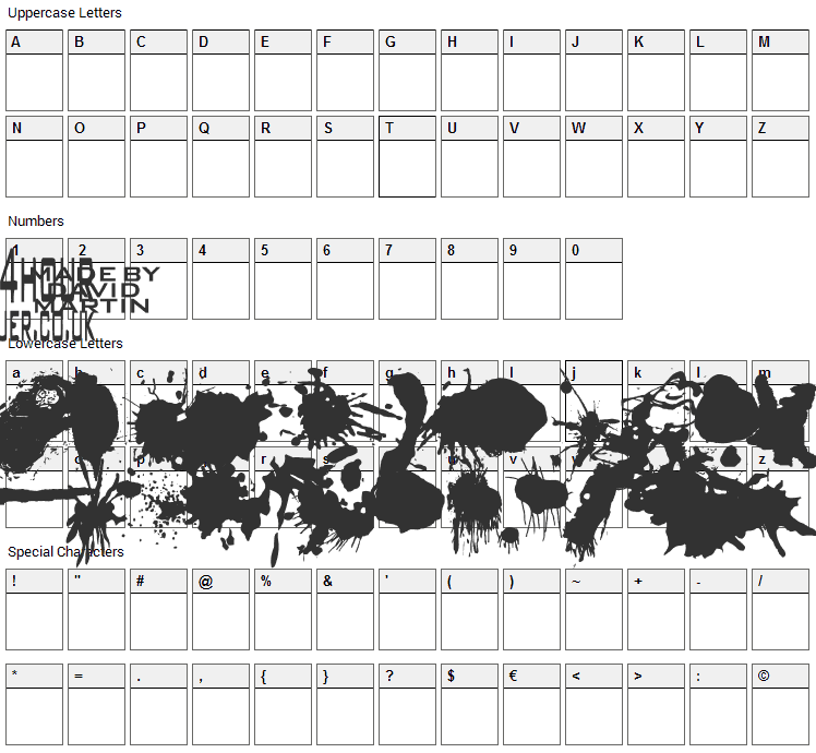Split Splat Splodge Font Character Map
