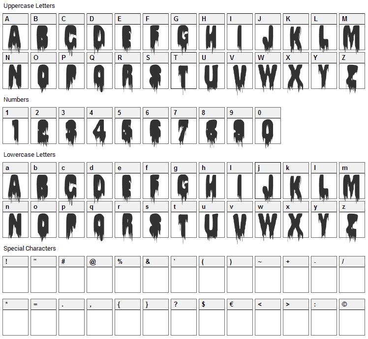 Splywaj Font Character Map