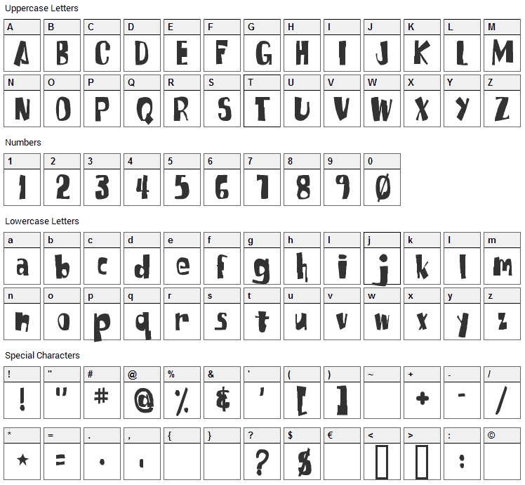 SpongeFont Square Type Font Character Map