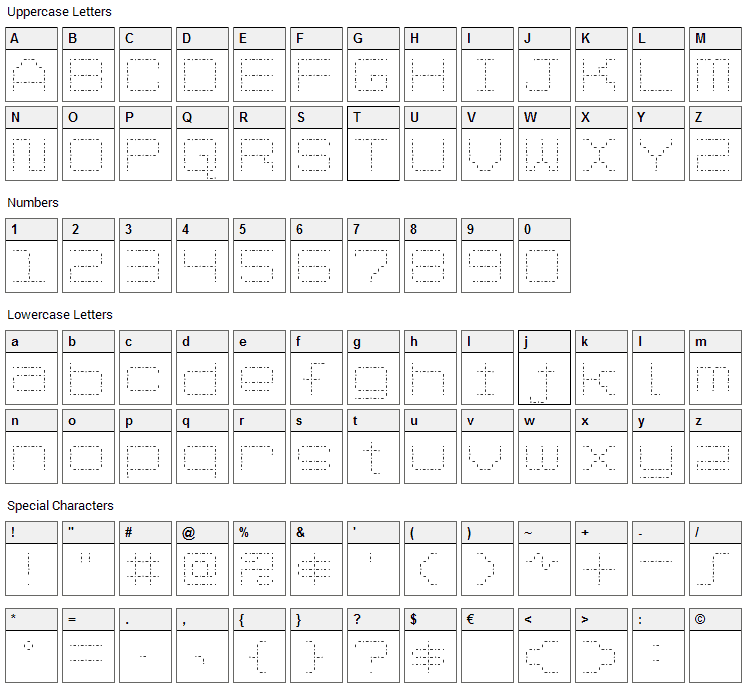 Spot Matrix Font Character Map
