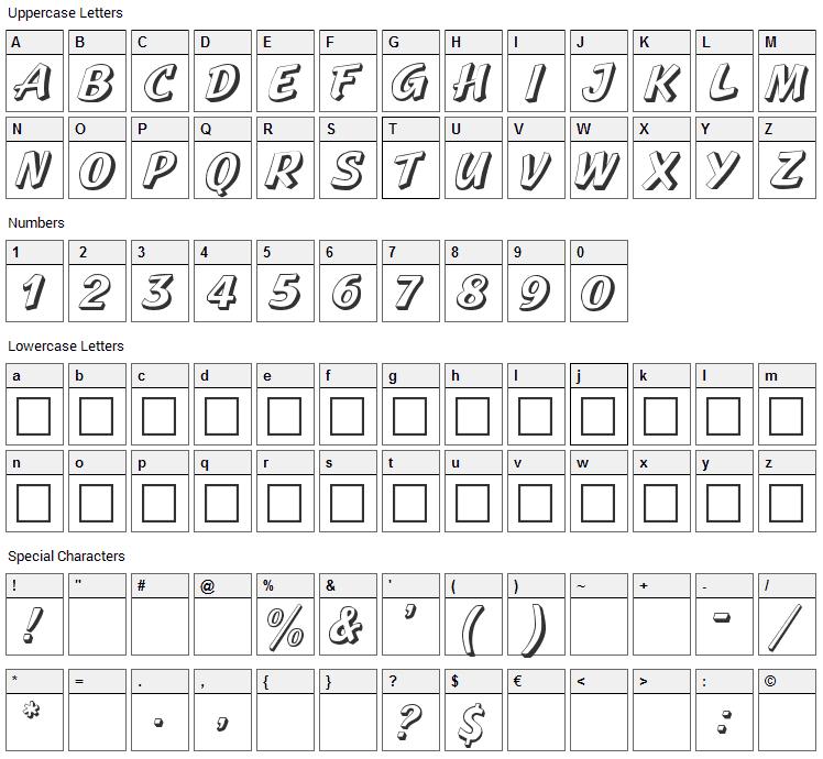 Sprague Font Character Map