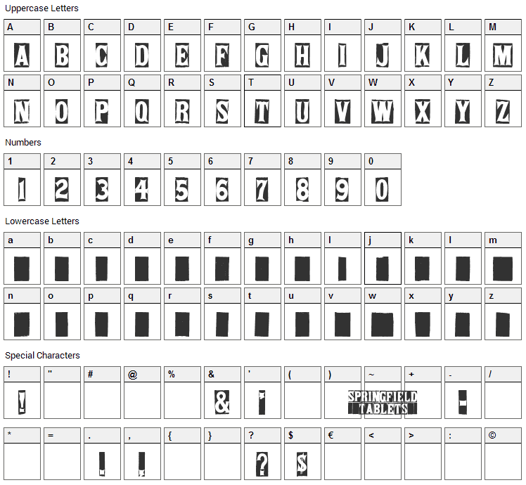 Springfield Tablets Font Character Map
