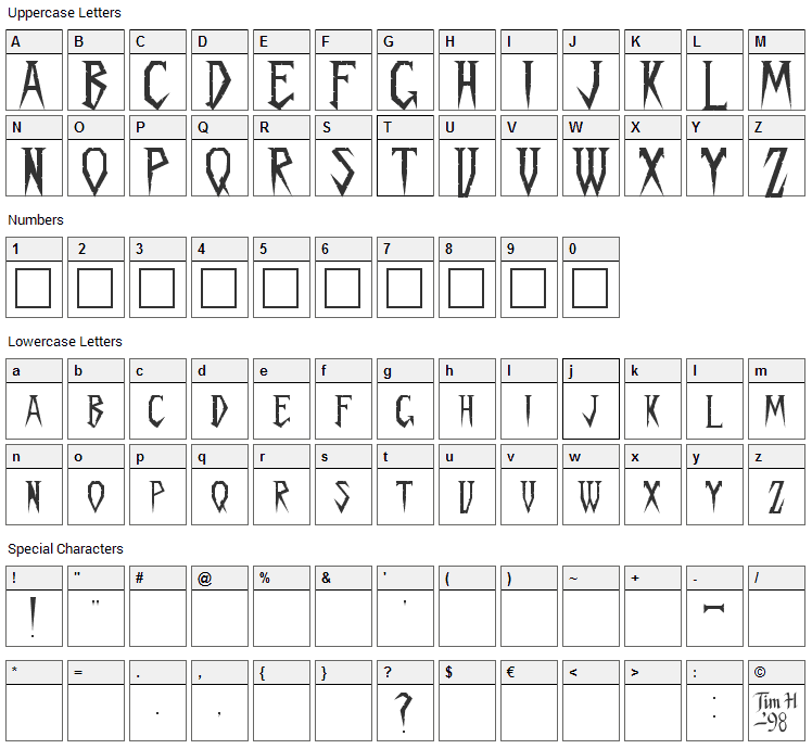 Spykker Font Character Map