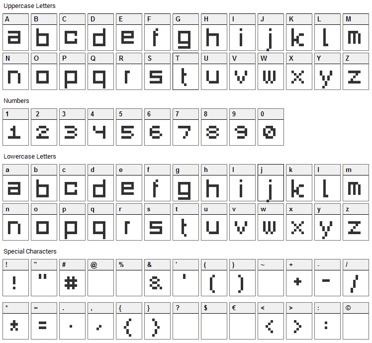 Square Dance Font Character Map