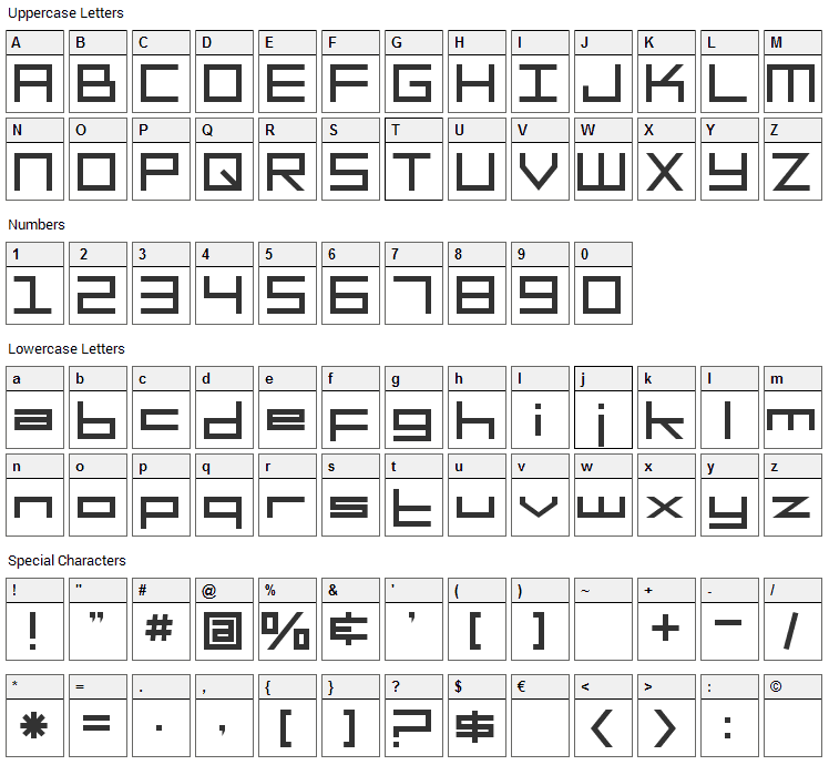 Square Head Font Character Map