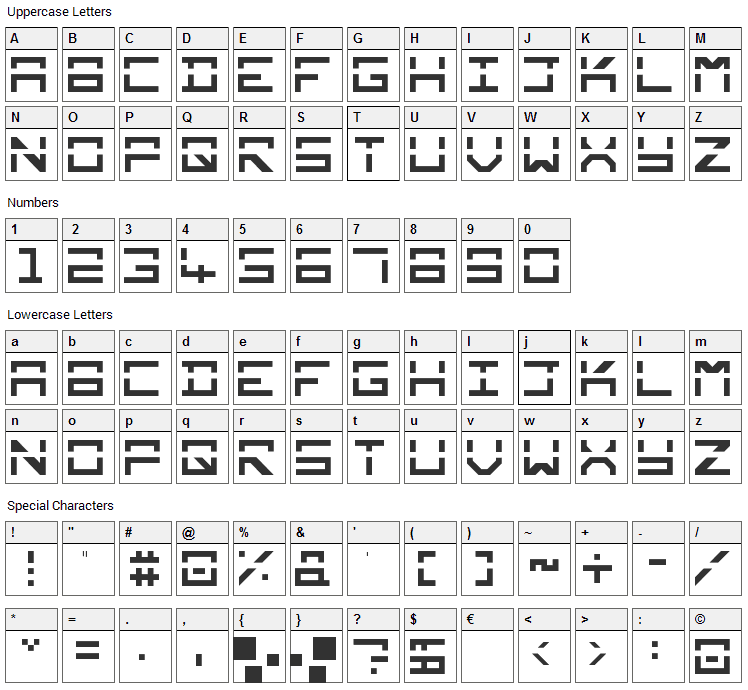 Square Mile Font Character Map