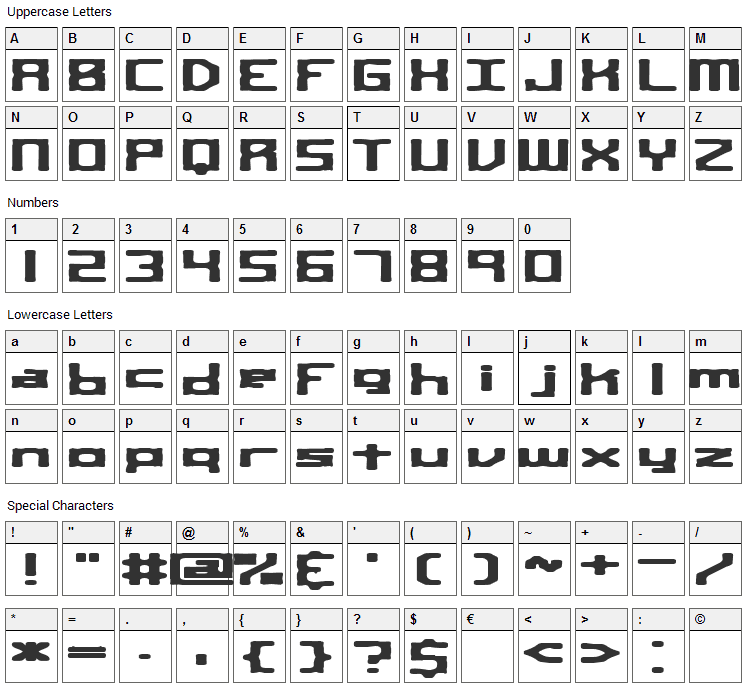 Square Route Font Character Map
