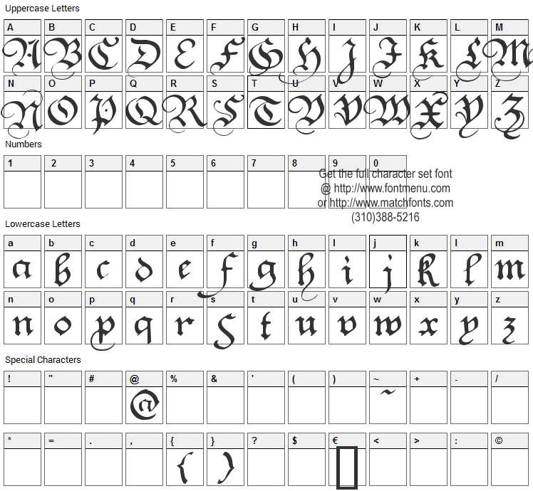 Square Text Font Character Map